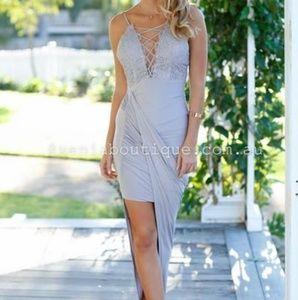 Purple grey deep plunge asymmetrical slinky dress